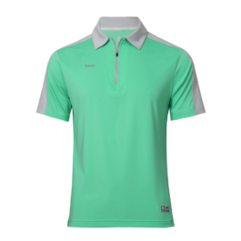 3M反光拉鍊POLO衫-男 (湖水綠/灰領)