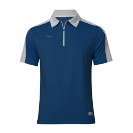 3M反光拉鍊POLO衫-男 (深藍色/灰領)