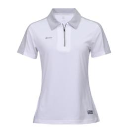 3M反光拉鍊POLO衫-女 (白色/灰領)