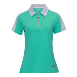 3M反光拉鍊POLO衫-女 (湖水綠/灰領)