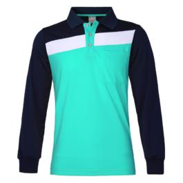 三合一機能POLO衫-男-長袖-湖綠
